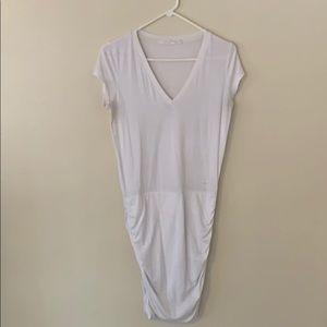 White Athleta scrunch tshirt dress